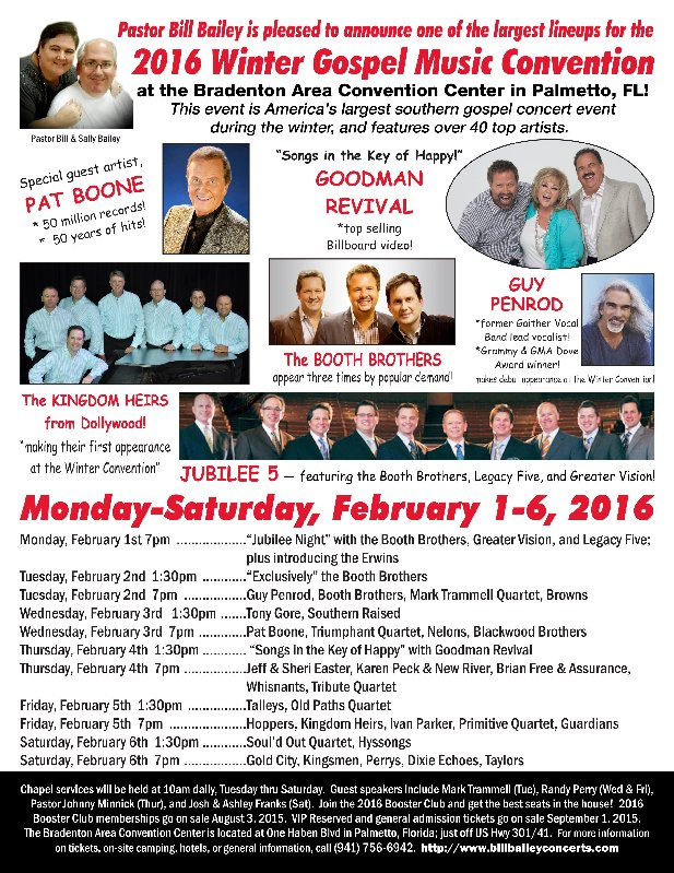 PASTOR BILL BAILEY ANNOUNCES THE TALENT LINEUP FOR THE